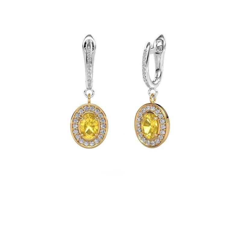 Oorhangers Layne 2 585 goud gele saffier 7x5 mm