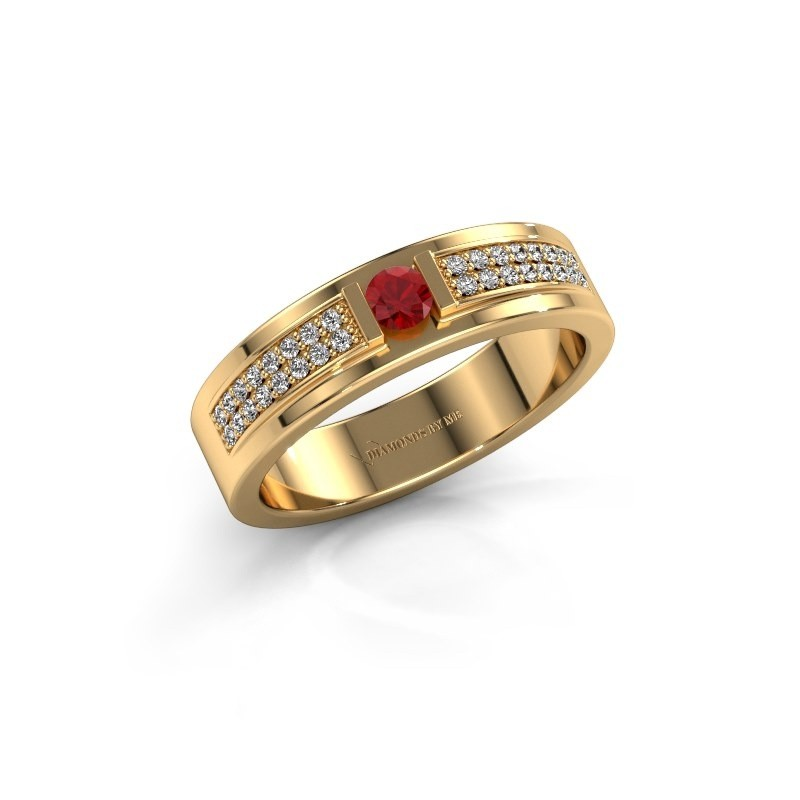 Ring Chanell 375 goud robijn 3 mm