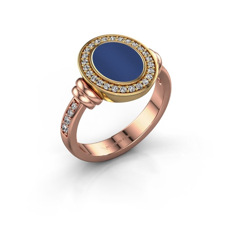 Zegelring Frido F 585 rosé goud lapis lazuli 10x8 mm
