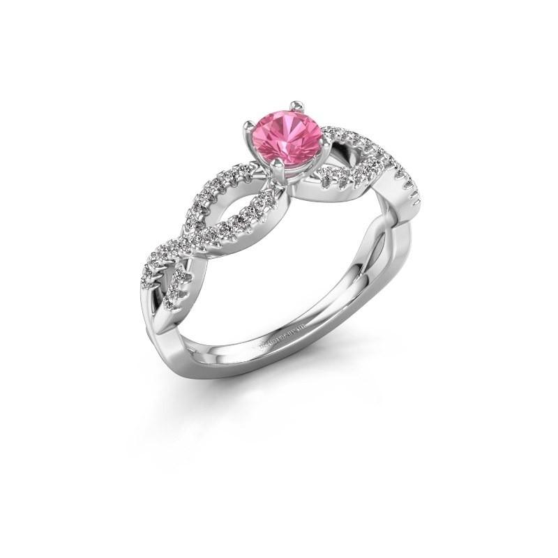 Verlovingsring Hanneke 585 witgoud roze saffier 4.7 mm