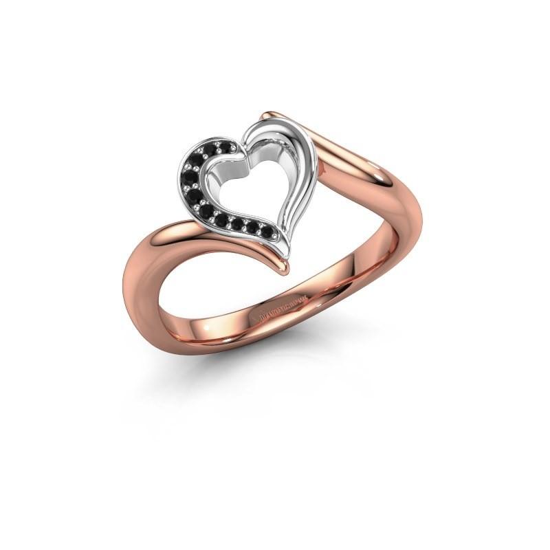 Ring Katlyn 585 rosé goud zwarte diamant 0.046 crt