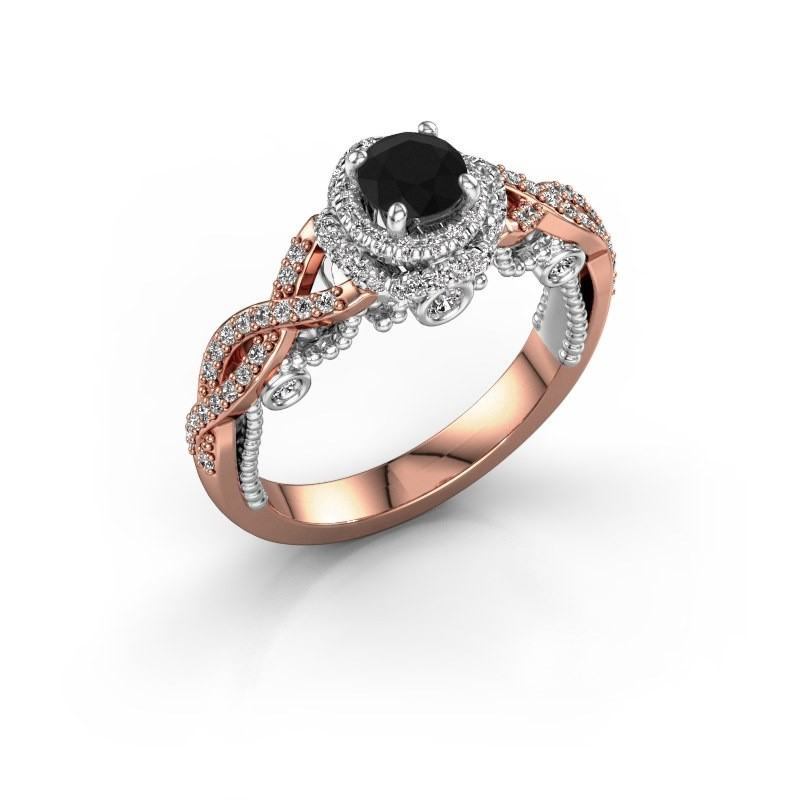 Verlobungsring Leora 585 Roségold Schwarz Diamant 0.91 crt