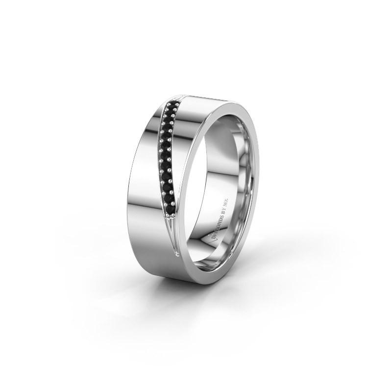 Trouwring WH2146L17A 375 witgoud zwarte diamant ±7x1.7 mm