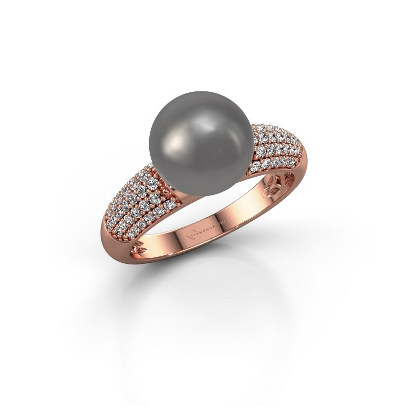 Ring Anisa 375 rose gold grey pearl 9 mm