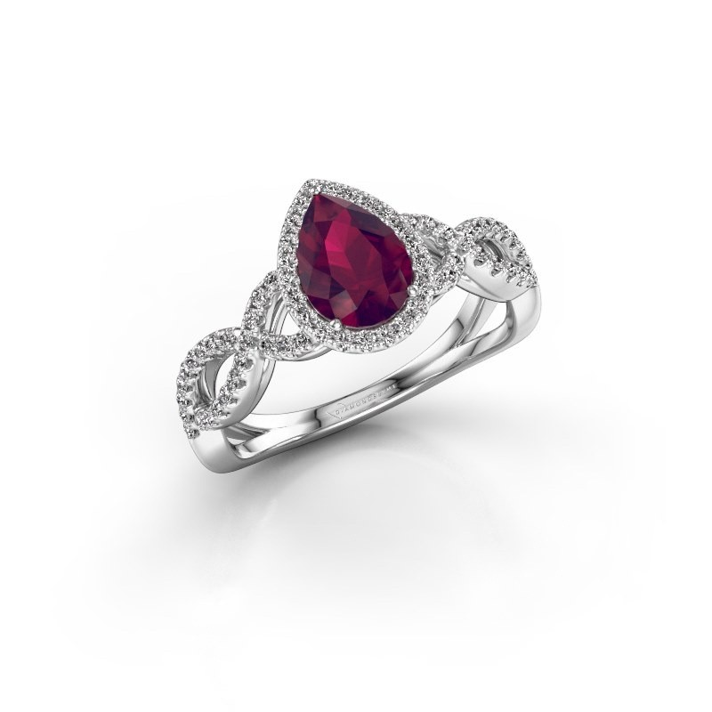 Engagement ring Dionne pear 925 silver rhodolite 7x5 mm