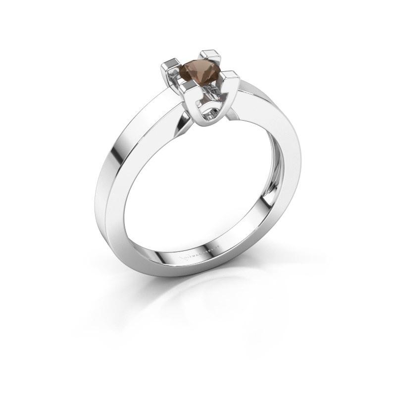 Verlovingsring Nina 1 925 zilver rookkwarts 3.7 mm