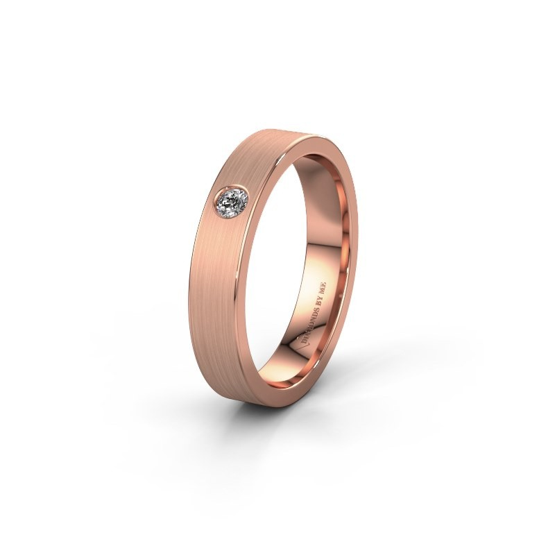 Trouwring WH0101L14AM 375 rosé goud diamant ±4x1.7 mm