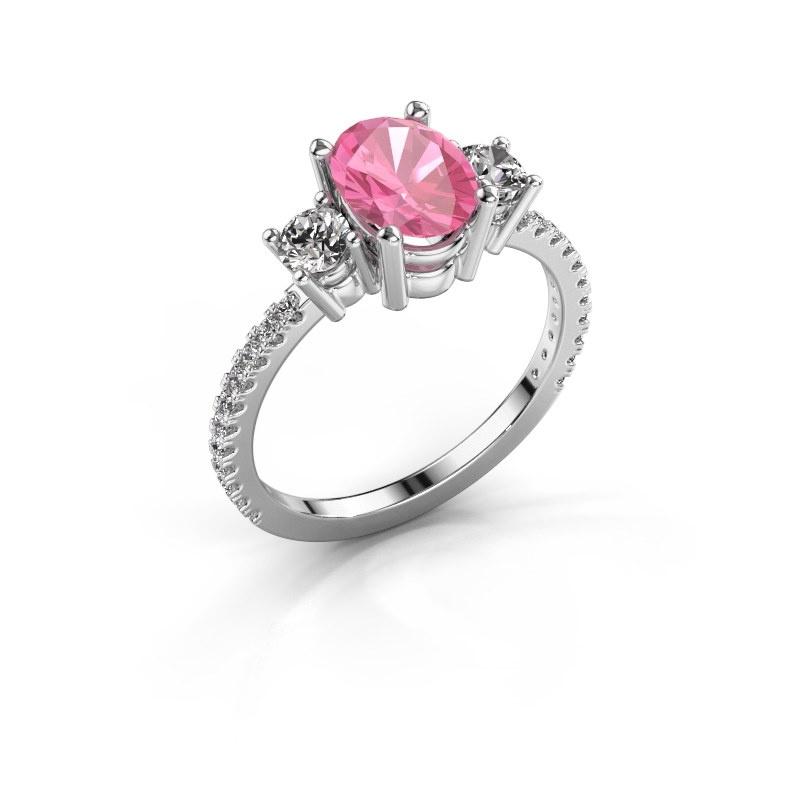 Verlobungsring Emelda 925 Silber Pink Saphir 8x6 mm