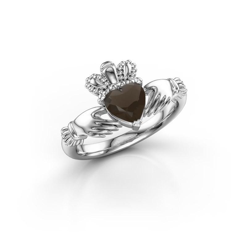 Ring Claddagh 2 925 zilver rookkwarts 6 mm