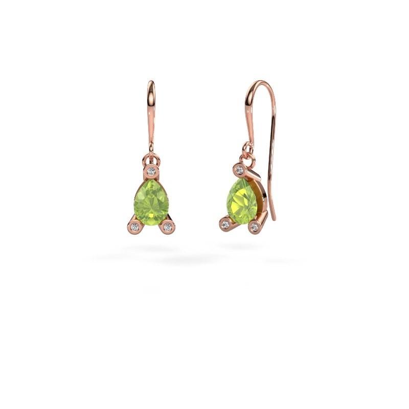 Drop earrings Bunny 1 375 rose gold peridot 7x5 mm