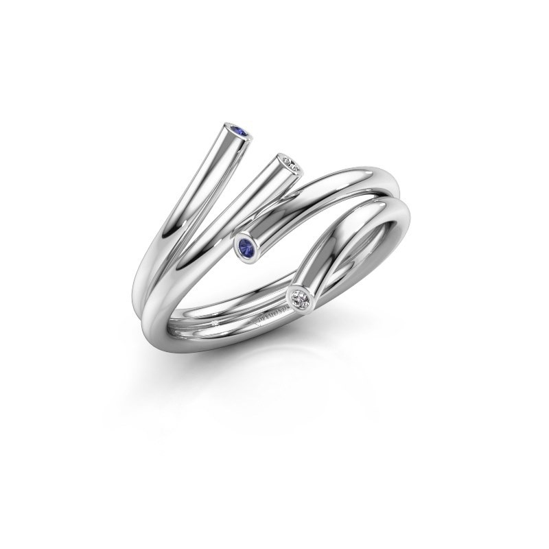 Ring Siewke 925 zilver saffier 1.4 mm
