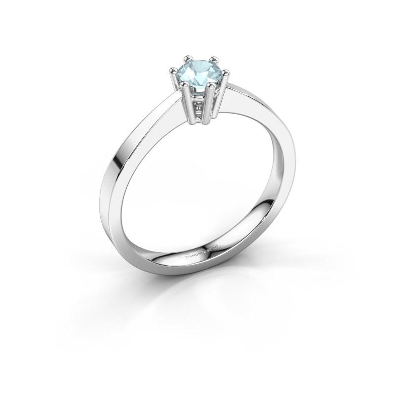 Engagement ring Noortje 950 platinum aquamarine 4 mm