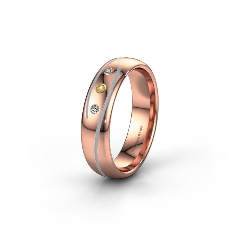 Trouwring WH0152L25A 585 rosé goud gele saffier ±5x1.7 mm