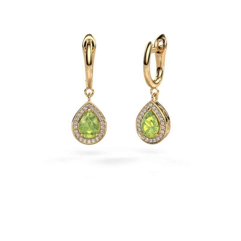 Drop earrings Ginger 1 585 gold peridot 7x5 mm