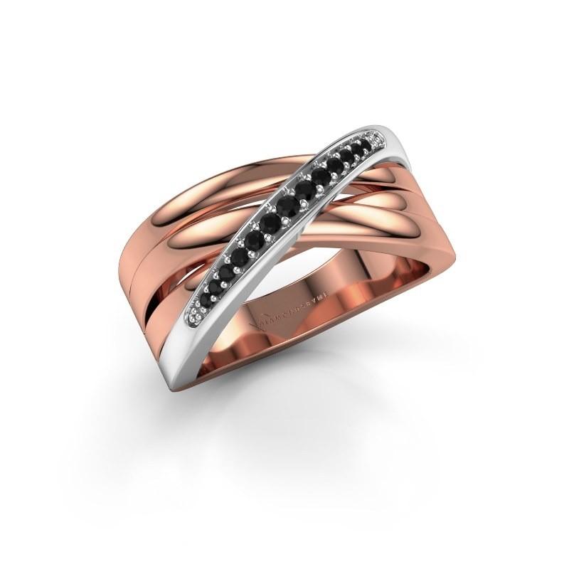 Ring Renna 2 585 rose gold black diamond 0.147 crt