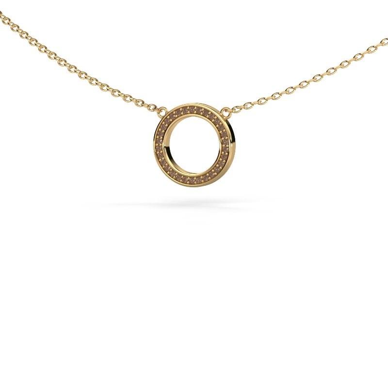 Anhänger Round 1 585 Gold Braun Diamant 0.075 crt