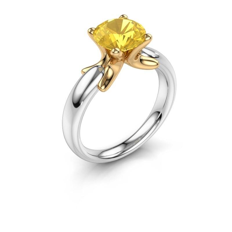 Ring Jodie 585 witgoud gele saffier 8 mm