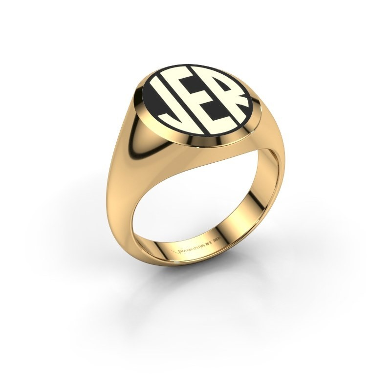 Monogram ring Paul emaille 585 goud