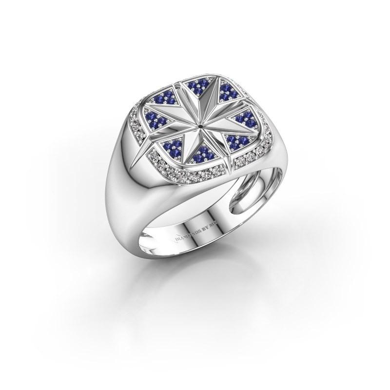 Heren ring Ravi 925 zilver saffier 1 mm