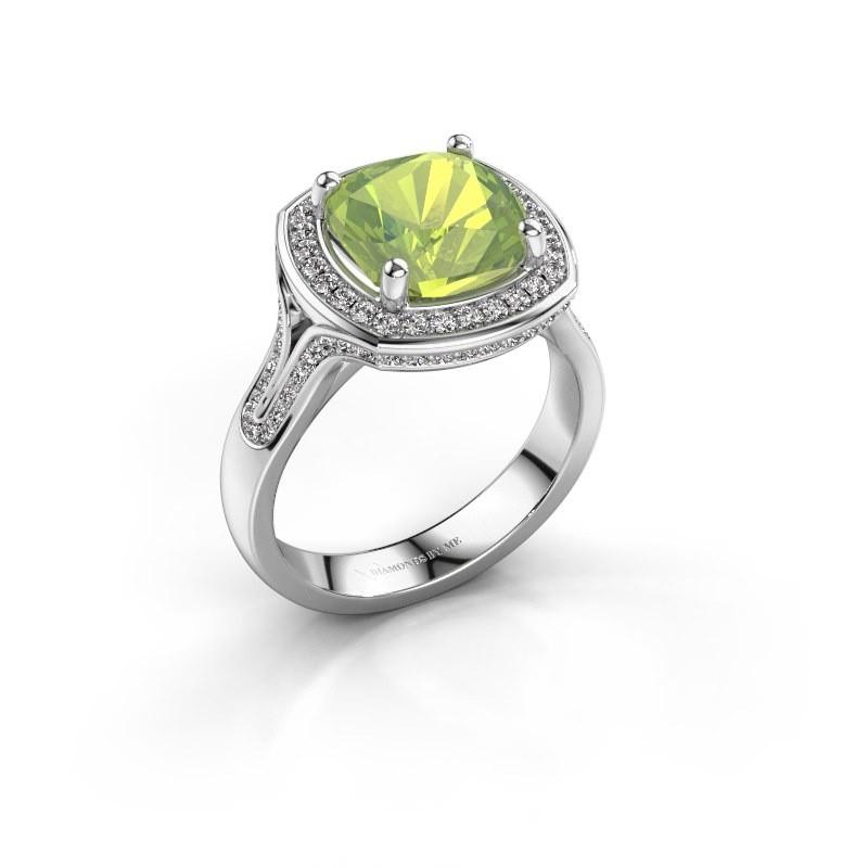 Ring Lili 585 witgoud peridoot 9 mm