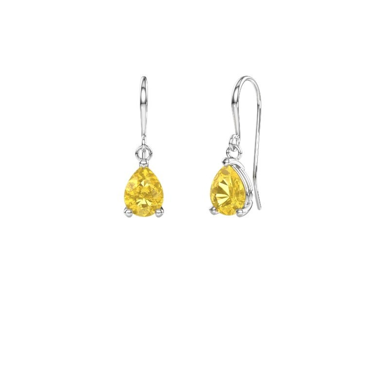 Drop earrings Laurie 1 375 white gold yellow sapphire 8x6 mm