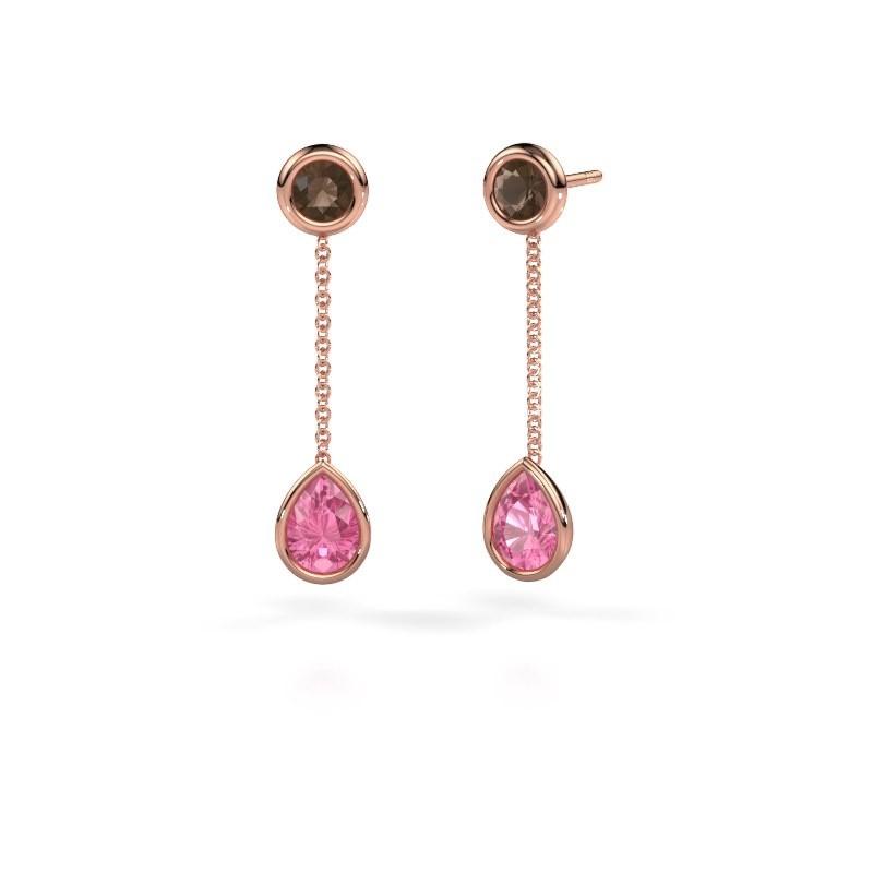 Oorhangers Ladawn 585 rosé goud roze saffier 7x5 mm