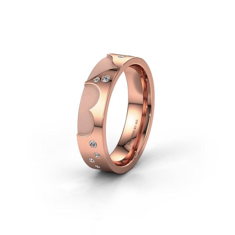 Trouwring WH2114L25A 375 rosé goud zirkonia ±5x1.7 mm