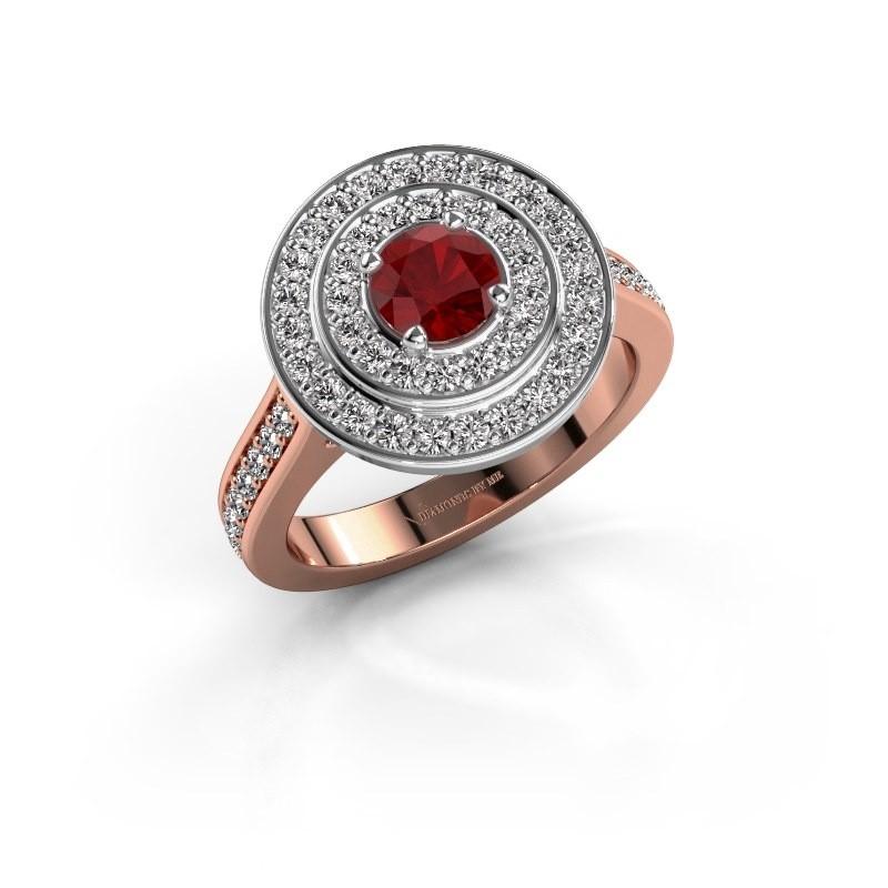 Ring Alecia 2 585 rosé goud robijn 5 mm