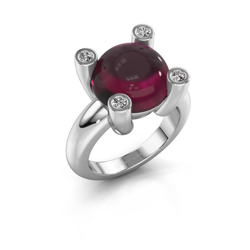 Ring Janice RND 925 zilver rhodoliet 12 mm