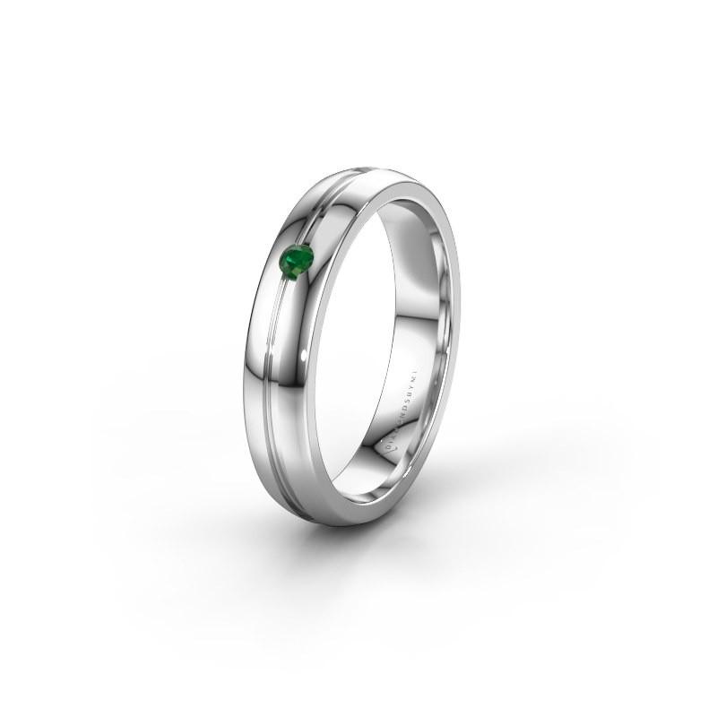 Trouwring WH0424L24A 925 zilver smaragd ±4x1.7 mm