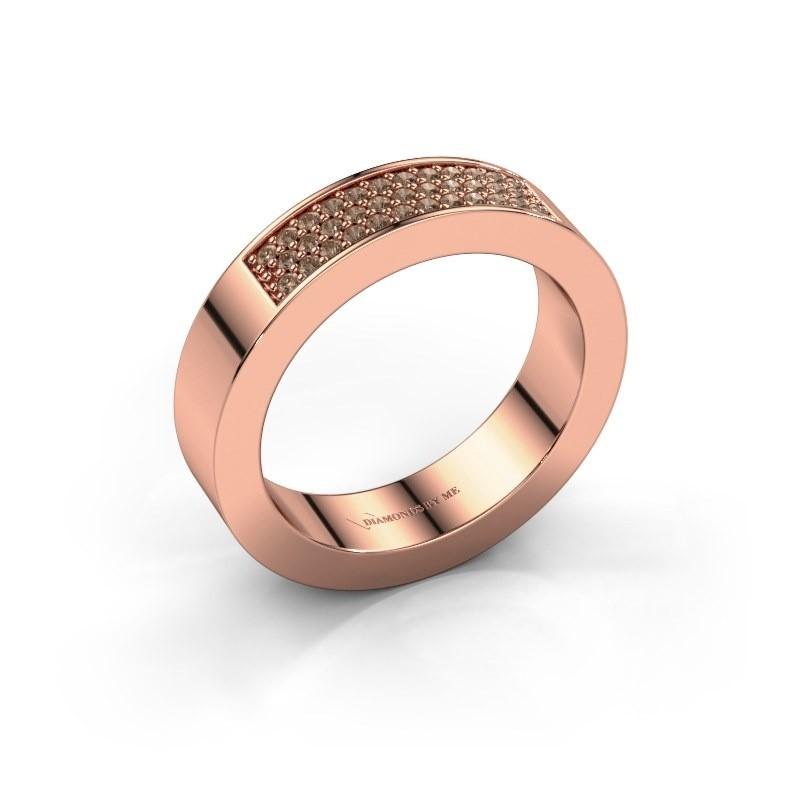 Ring Lindsey 1 375 rosé goud bruine diamant 0.235 crt