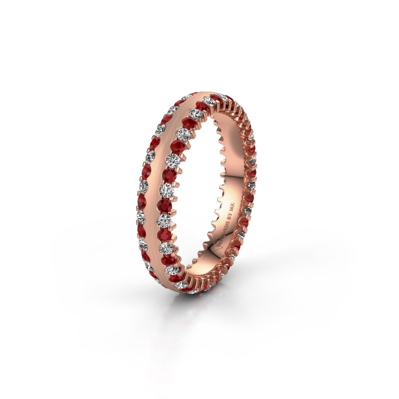 Trouwring WH2139L24B 375 rosé goud robijn ±4x2 mm