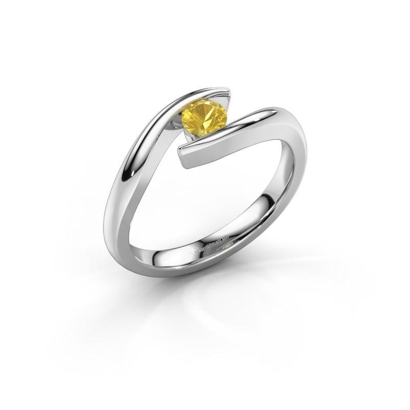 Engagement ring Alaina 950 platinum yellow sapphire 4 mm