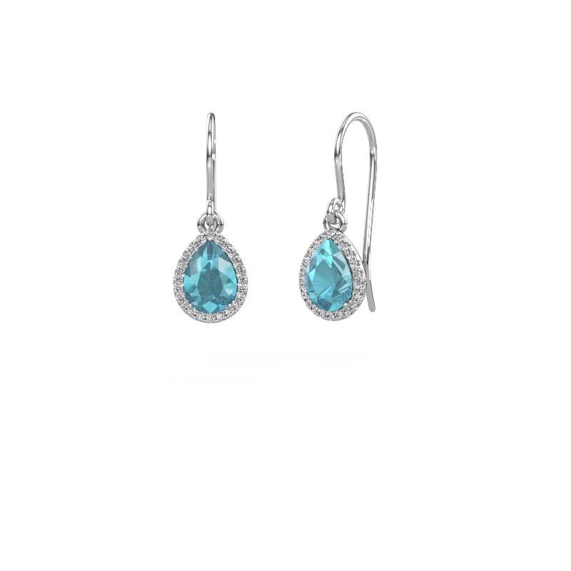 Oorhangers Seline per 925 zilver blauw topaas 7x5 mm