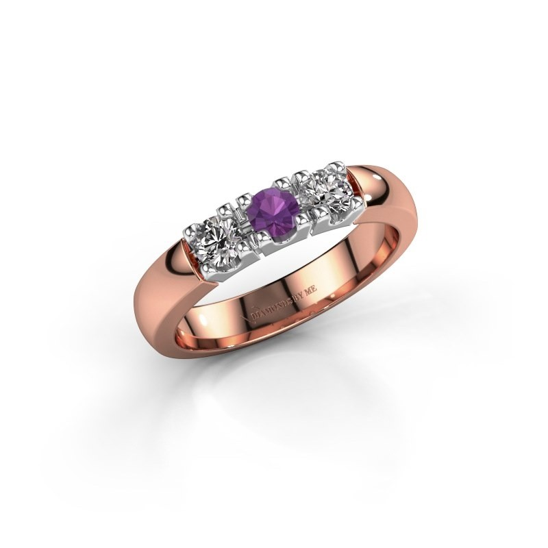 Engagement ring Rianne 3 585 rose gold amethyst 3.4 mm