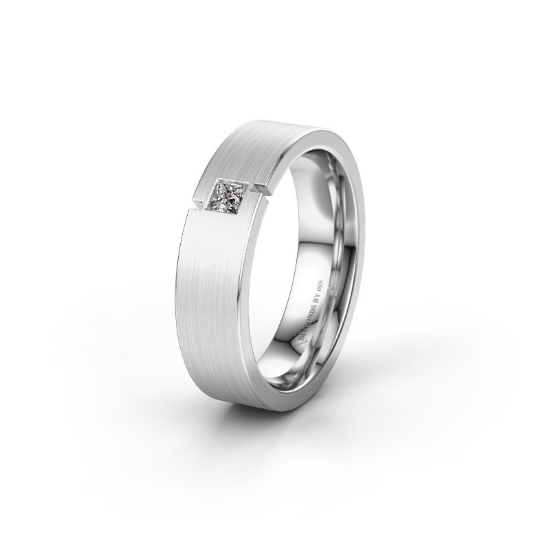 Trouwring WH2040L 585 witgoud lab-grown diamant ±5x2.2 mm