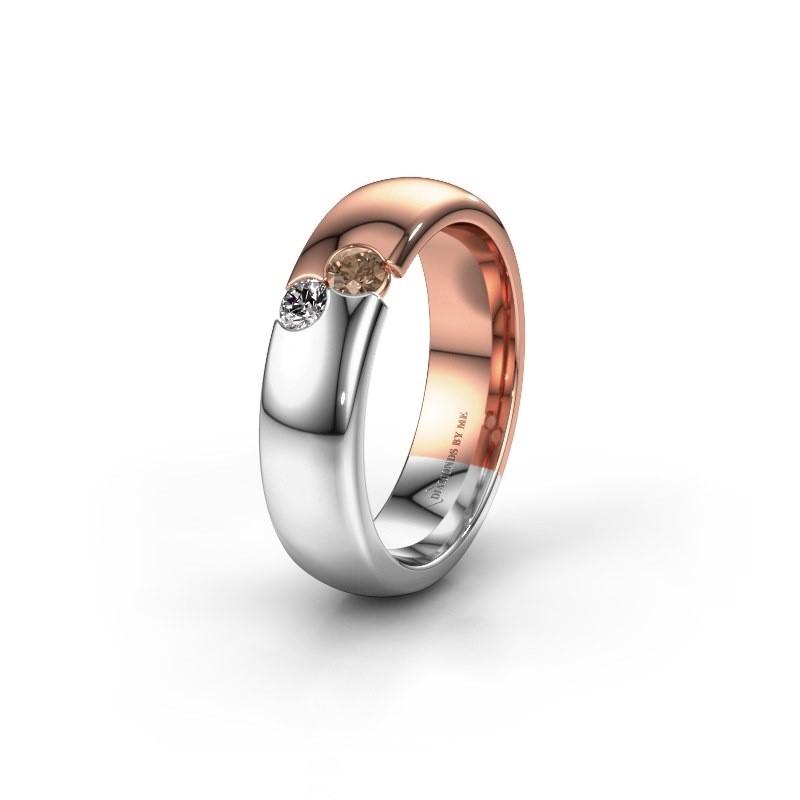 Trouwring WH1003L26C 585 rosé goud bruine diamant ±6x2.2 mm