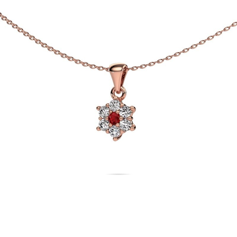 Ketting Chantal 375 rosé goud robijn 2.4 mm