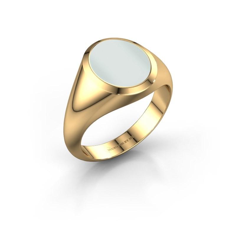 Signet ring Evon 2 585 gold green sardonyx 12x10 mm