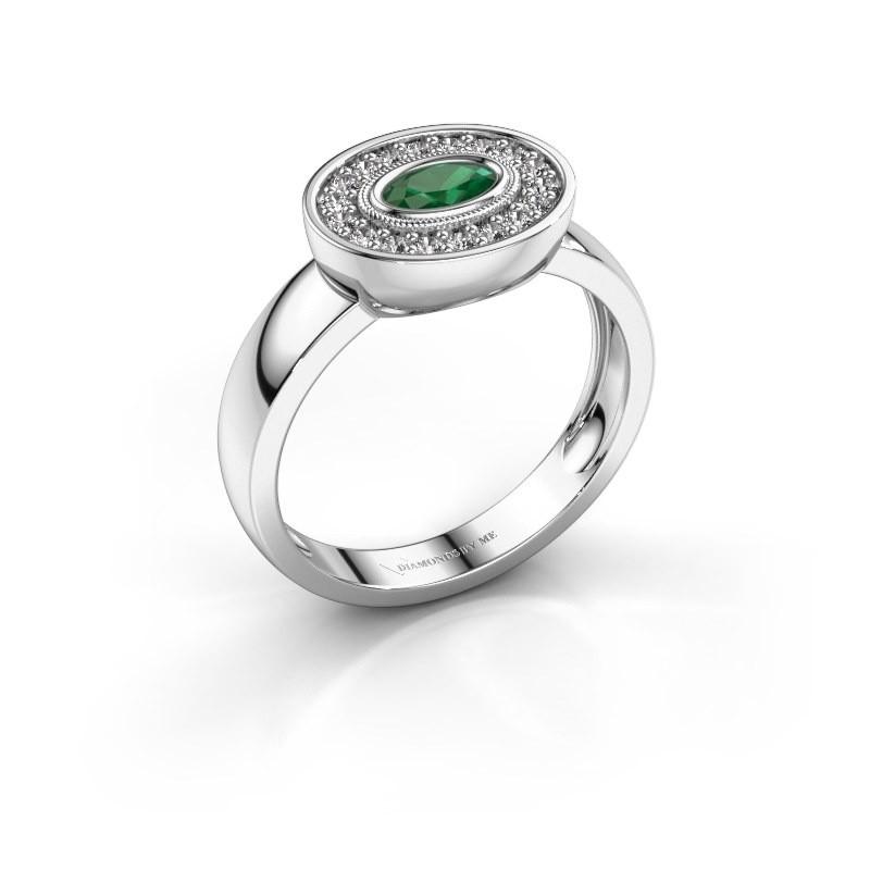 Ring Azra 585 white gold emerald 5x3 mm