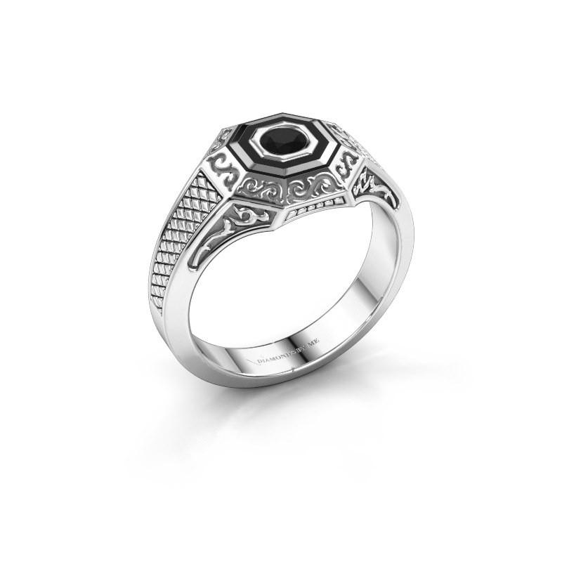 Men's ring Dion 925 silver black diamond 0.30 crt