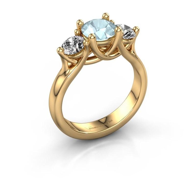 Engagement ring Esila 375 gold aquamarine 6.5 mm