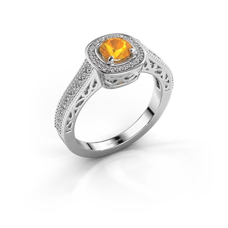 Verlovings ring Candi 950 platina citrien 5 mm