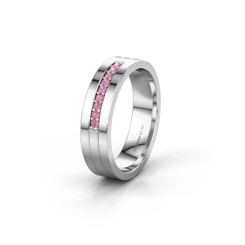 Trouwring WH0413L15AP 950 platina roze saffier ±5x1.7 mm