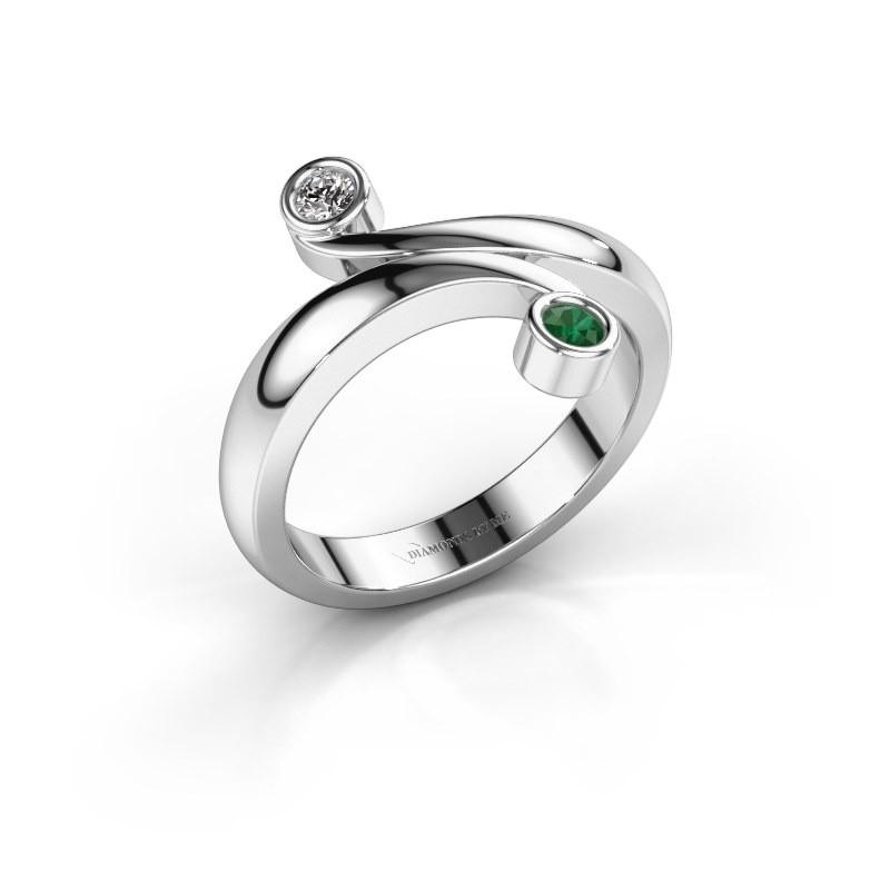 Ring Hilary 925 zilver smaragd 2.5 mm