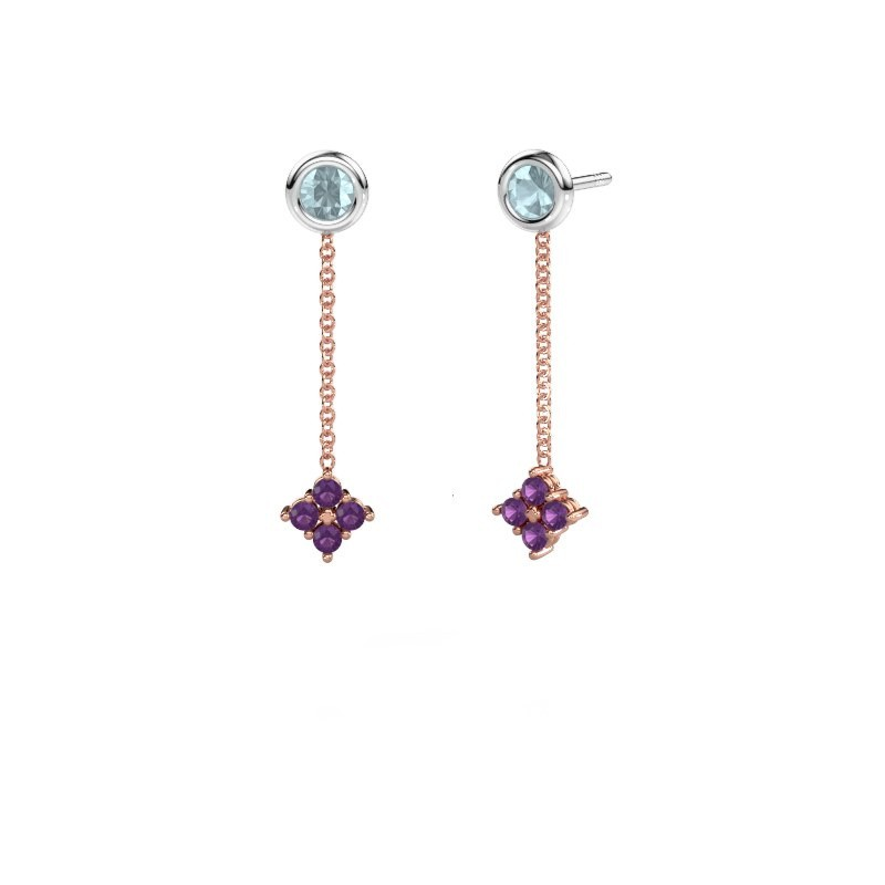 Drop earrings Ardith 585 rose gold amethyst 2 mm