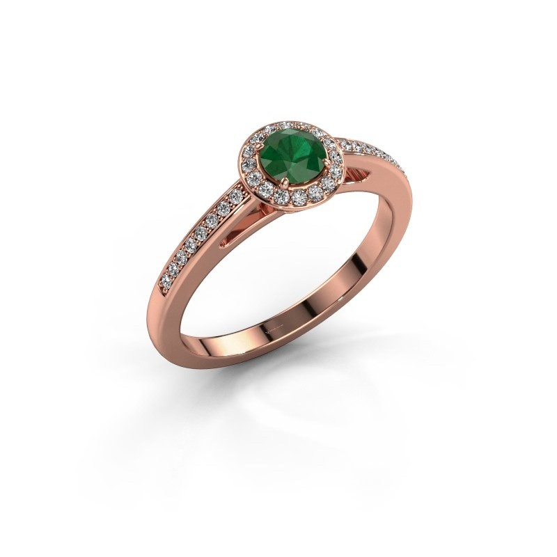 Engagement ring Aaf 375 rose gold emerald 4.2 mm