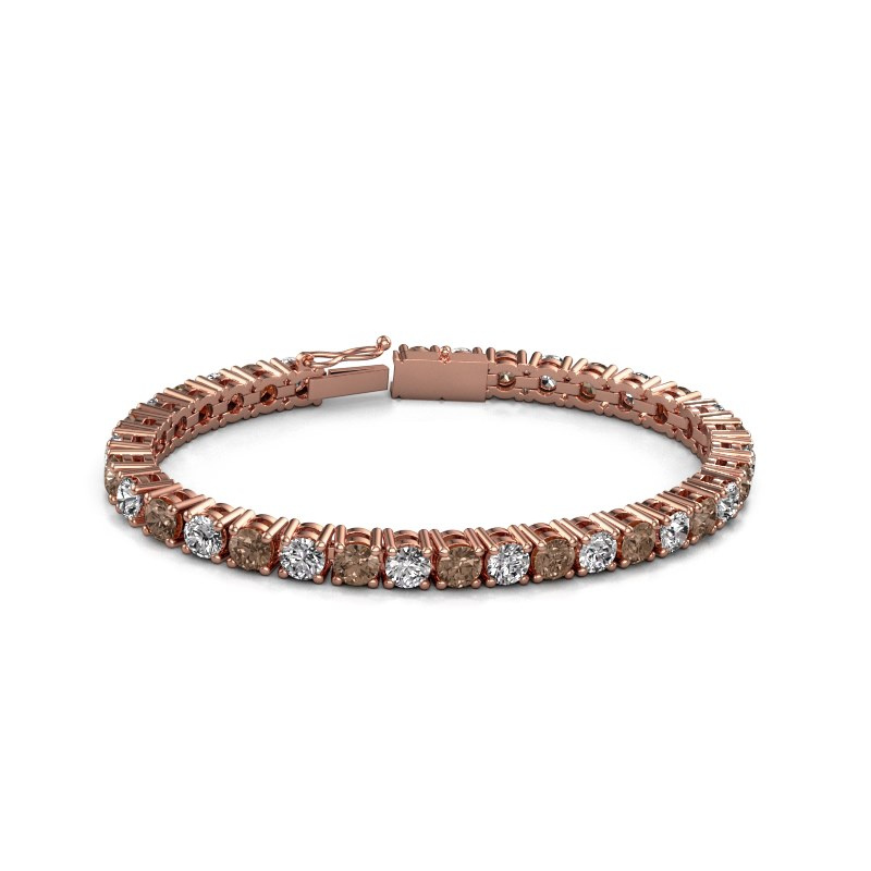 Tennisarmband Karin 5 mm 375 rosé goud bruine diamant 17.00 crt