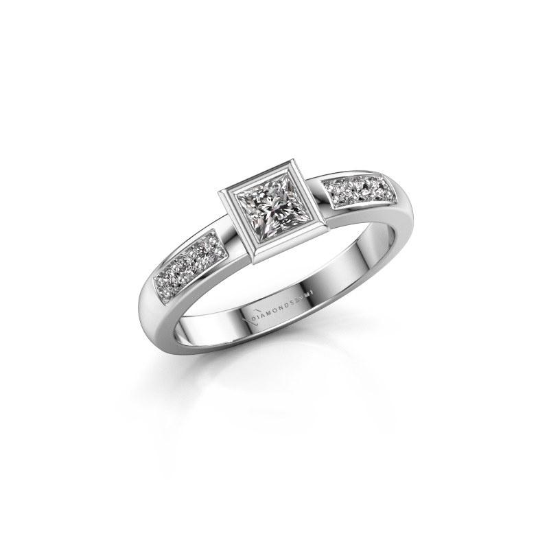 Stacking ring Lieke Square 925 silver diamond 0.340 crt