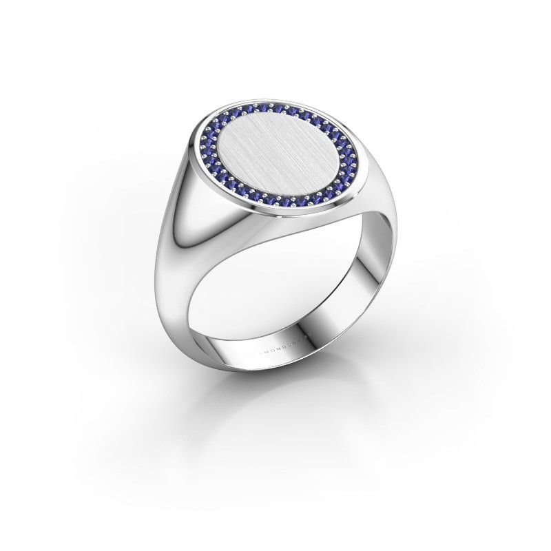 Heren ring Floris Oval 4 375 witgoud saffier 1.2 mm
